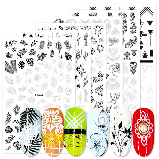 1pcs 3D Nail Stickers Sliders Black White Decals Flora Vine Jewelry Necklace Tropical Fern Leaves Geometry Manicure BEF564 573