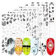 1pcs 3D สติกเกอร์เล็บ Sliders สีดำสีขาว Decals Flora VINE สร้อยคอเครื่องประดับ Tropical ใบเฟิร์นเรขาคณิตเล็บ BEF564 573