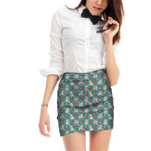 FORUDESIGNS Womens Mini Skirt Ladies Maltese Flower Printing Pencil Skirts for Females Kawaii Puppy Pattern Beach Party Bottoms