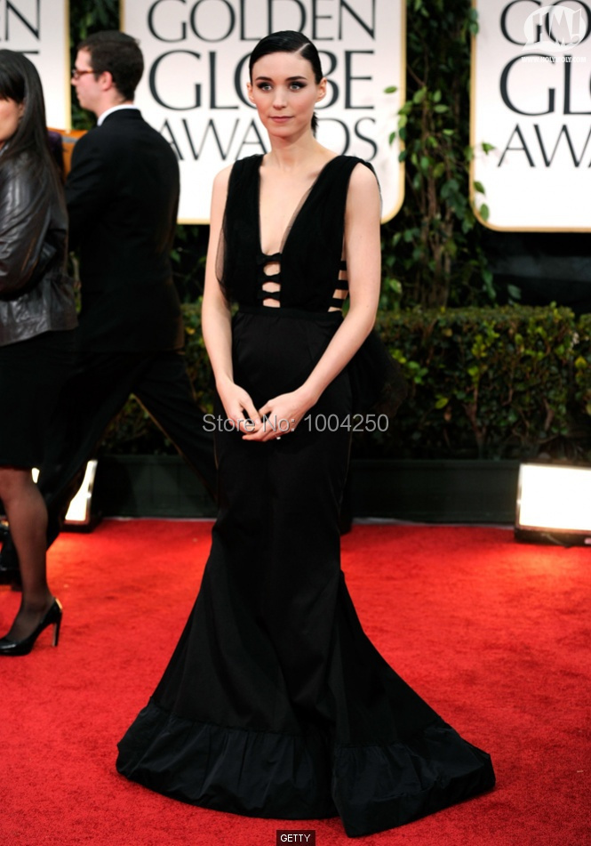 ACR001 Rooney Mara Dress Sexy Sleeveless Style V neckline Long Black  Bandage Celebrity Dress Mermaid Evening Dress Party Dress-in Celebrity-Inspired  Dresses ... 898d41d8854f