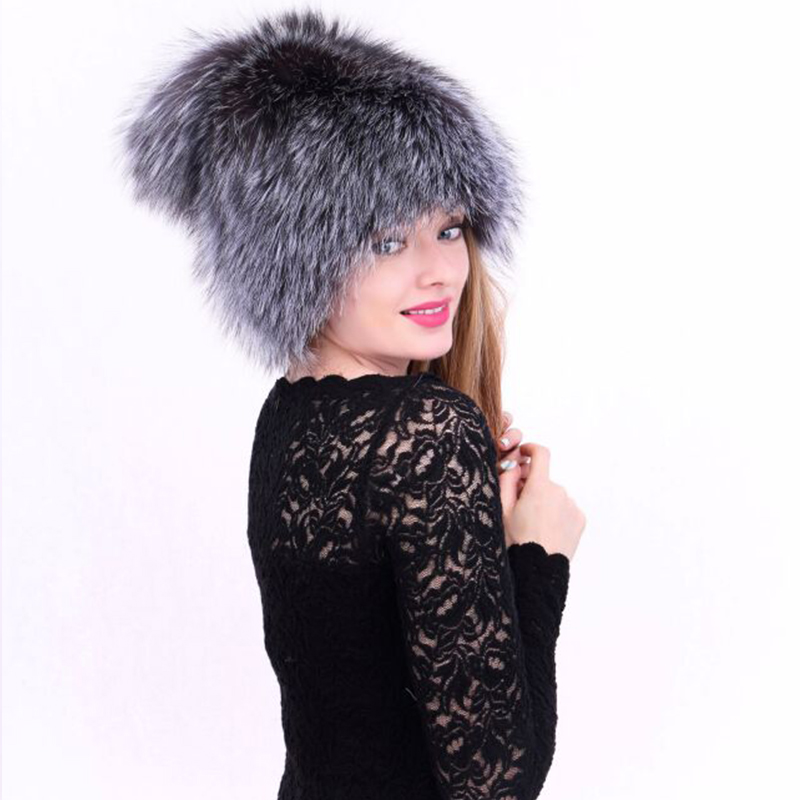 New Arrival Winter Hats For Women Casual Solid Thick Warm Fox Fur Pompom Ear Protect Hat Female Gray Khaki Beanies Cap mz026