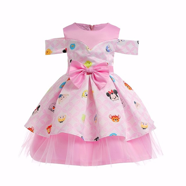 Baby Girl Clothes Kids Cartoon Printed Dresses Children Girls Princess Dress Toddlers Bowknot Strapless Birthday Party Clothing