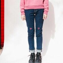 Корейский Harajuku Весной Новые женские Длинные Джинсы Джинсовые Брюки Карандаш Брюки Тощий форме Сердца Письма Вышивка Мода