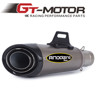 GT Motor Universal 51MM Motorcycle Exhaust Escape Modified Scooter Carbon Fiber Exhaust Muffle Fit For Most
