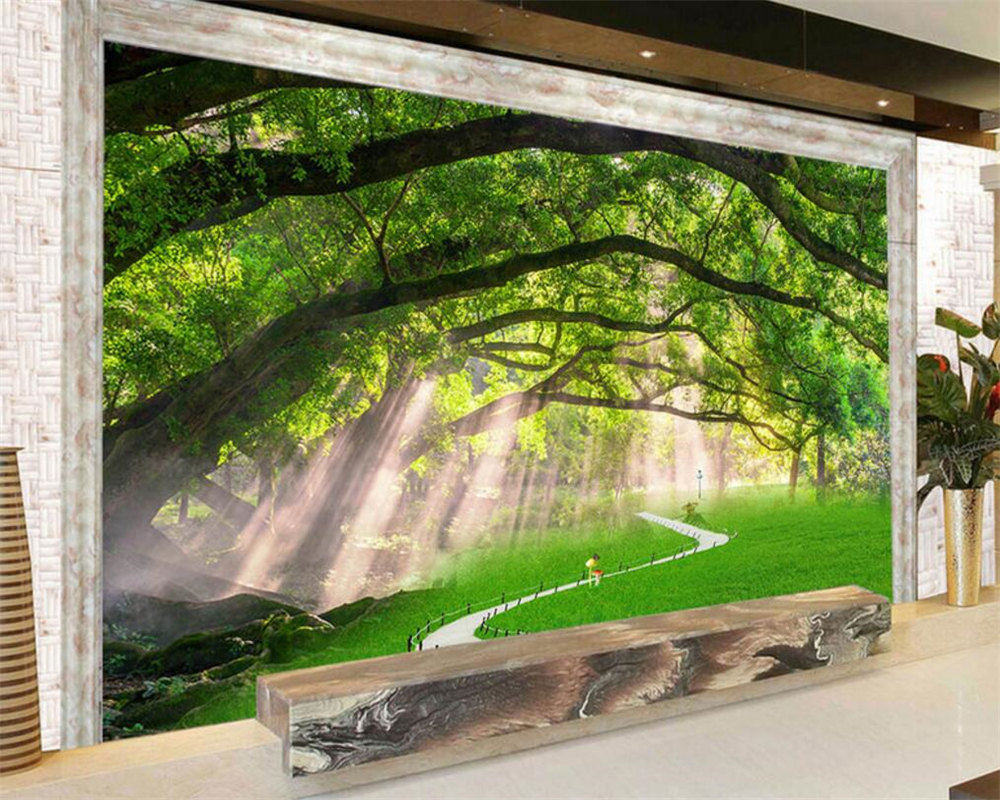 Buy beibehang 3d wallpaper natural tree for Nature wallpaper for bedroom