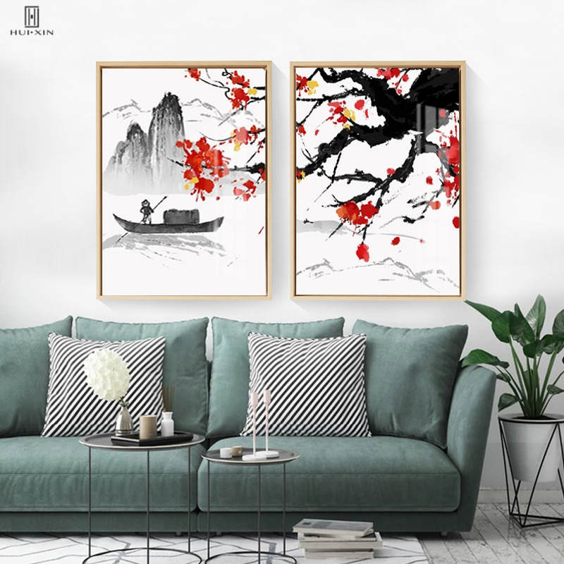 Squint Chinese Mountain&River Landscape Style Unframed Images Red Black Main Color Pictures For Home Hallway Foyer Study Decor