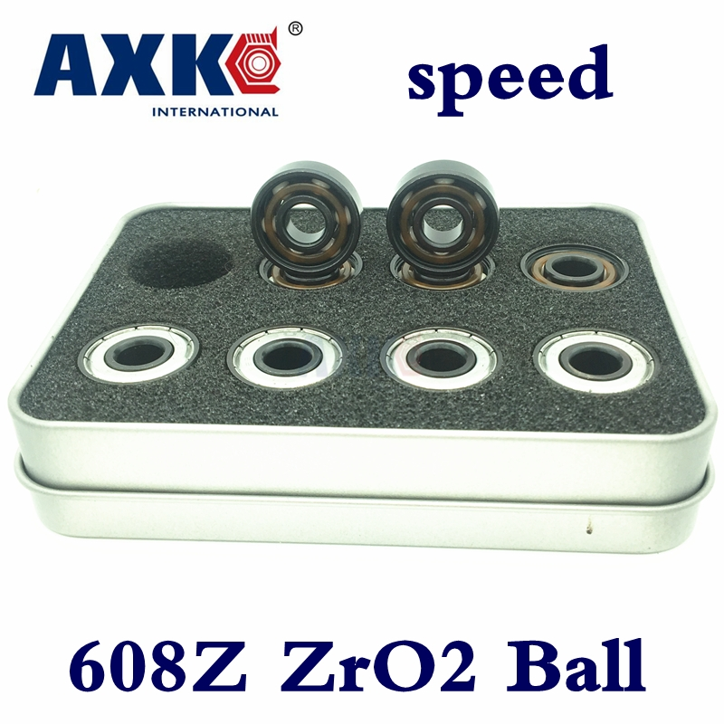 Rolamentos Axk Ceramic Swiss Bsb Speed 608 8*22*7mm 608z Abec11 White Zro2 Balls Si3n4 Skateboard Bearing Skating Hand Spinner rodamientos ball bearing golden 8x22x7mm 608z ilq 11 608 inline skateboard speed skate bearing roller skating longboard abec11
