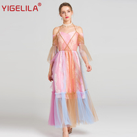 YIGELILA 2017 Latest Summer Fashion Women Sexy Slash Neck Spaghetti Strap Flare Sleeve Big Hem Mesh
