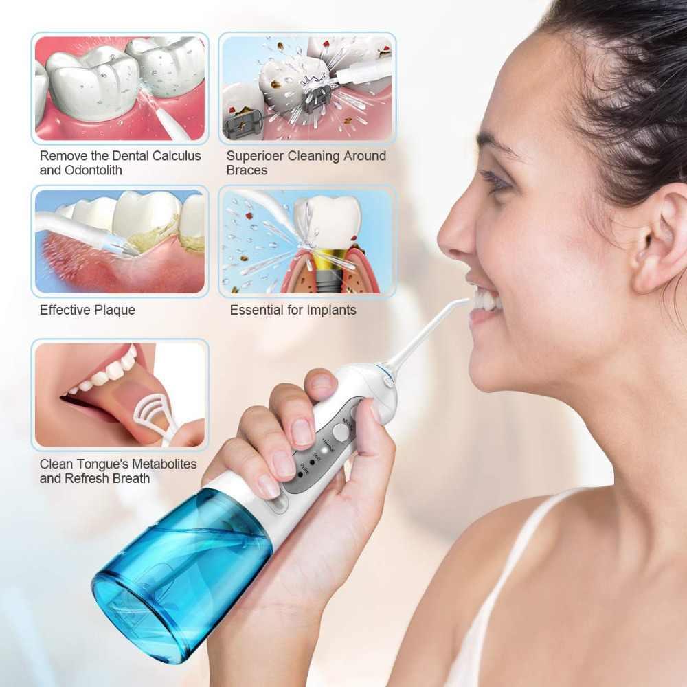 Jamy ustnej irygator ustnej Destone T20 przenośny flosser irygator wodny FDA akceptowane 300mL IPX7 3-trybu z 2 końcówki dyszy irygatora do podróży