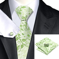 C-1162 Fashion Green Floral Necktie Hanky Cufflinks Set 100% Silk Ties For Men Formal Business Wedding Party