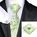 C-1162 Moda Floral Verde Corbata Hanky Gemelos Set 100% Corbata de Seda Para Los Hombres de Negocios Formal Del Banquete de Boda
