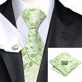 C-1162 Moda Floral Verde Gravata Lenço Abotoaduras Set 100% Gravatas De Seda Para Homens de Negócios Formal da Festa de Casamento