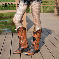 2018 New Spring Genuine Leather Cowboy Slip On Motorcycle Boots Fashion Mixed Color Spike Heel Women Boots Shoes Women