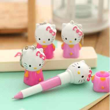 Kawaii caneta retrátil 0.7mm contas azuis dos desenhos animados super gatinho pequeno bonito retrátil esferográfica caneta presente para crianças/decoração chave
