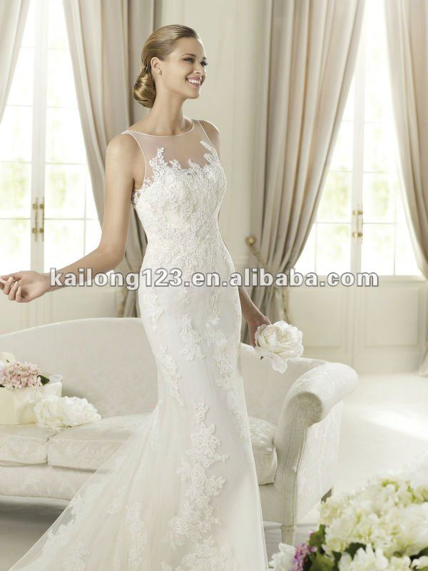 Gorgeous Sheer Neckline Sweep Train Tulle Lace Liques Wedding Dress Mermaid