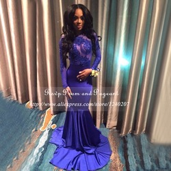 Long prom dresses 2017 sexy sheer applique long sleeve floor length stretch satin african backless royal.jpg 250x250