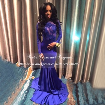 Long Prom Dresses 2017 Sexy Sheer Applique Long Sleeve Floor Length Stretch Satin African Backless Royal Blue Mermaid Prom Dress