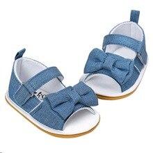 Naujagimio kūdikių mergaičių lankas Neslystančios medvilnės kepurės batai Summer Sandal Blue L