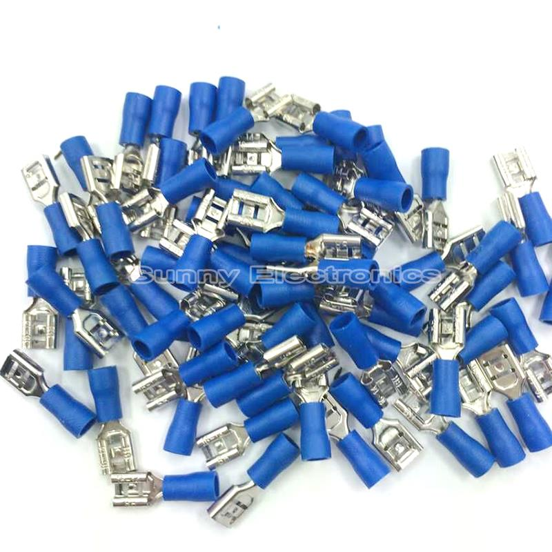 20 Pcs 6 3mm Blue Female Insulated Electrical Spade