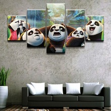 5 Piece Kung Fu Panda Superman Science Fiction Cartoon Movie Paintings on Canvas Wall Art for Home Decor HD Print