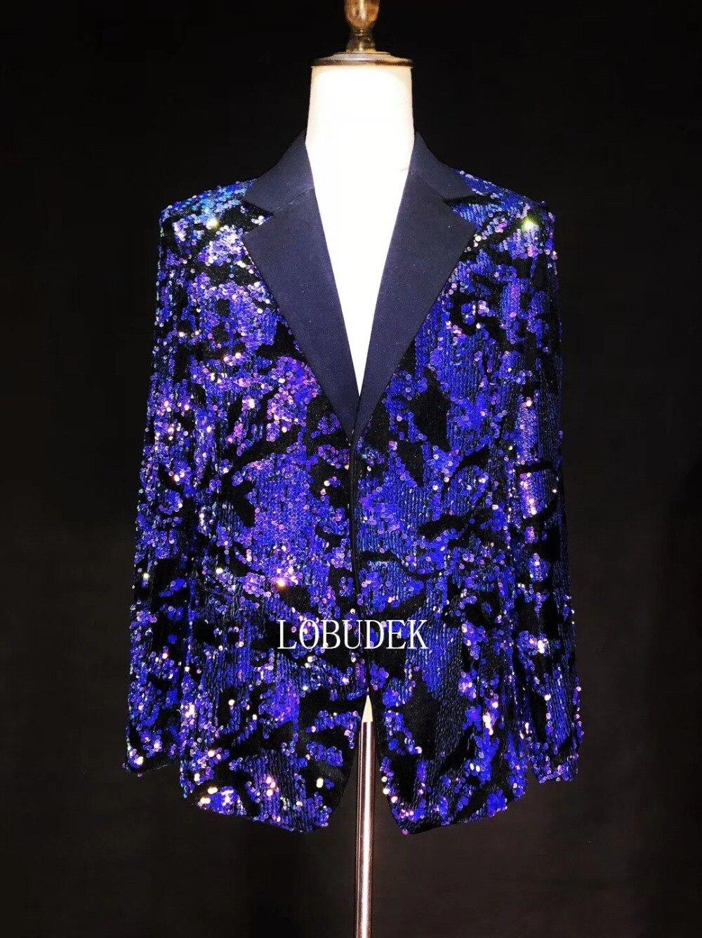 Brillant bleu violet paillettes veste hommes Costume vestes mode Slim Blazers manteau mâle chanteur discothèque vêtements hôte spectacle Costume - 3