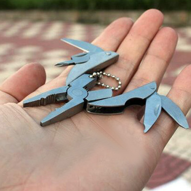 Pocket Multitools Plier 1pc Outdoor Mini Portable Folding Muilti-functional Plier Clamp Keychain Hiking Camping Tool