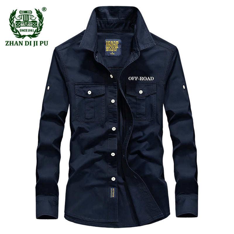Прямая поставка, Мужская Весенняя высококачественная повседневная брендовая рубашка в стиле милитари из 100% хлопка армейского зеленого цве...