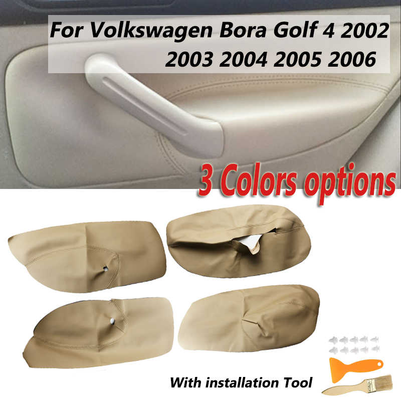 4PCS Car Microfibre Leather Door Armrest Cover For Volkswagen Bora Golf 4 02-06 Interior Door Panel Protective Sticker Accessory