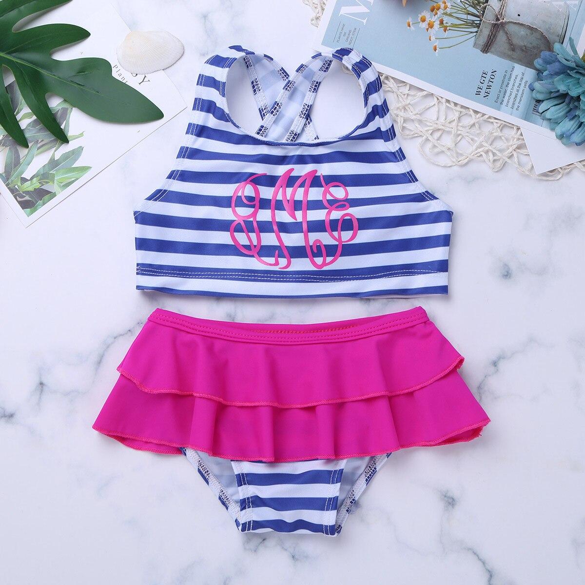Girls Swimwear 2 Piece Children Baby Bikini Set Tops With -4065