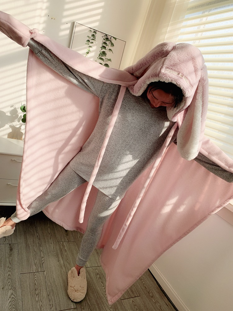 Cute Pink Comfy Blanket Sweatshirt Winter Warm Adults and Children Rabbit Ear Hooded Fleece Blanket Sleepwear Huge Bed Blankets 120