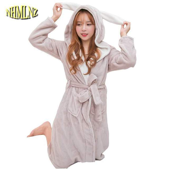 Korean Autumn Winter Flannel Nightgown Female Cartoon Hooded Robes Coral  Fleece Bathrobe Rabbit Ears Princess Women Robes LY513 3862dd2ee