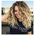 Synthetic Curly Blonde Wig Dark Roots Ombre Wig for Black White Women High Heat Fiber Pelucas Sinteticas Rubias Perruque Perucas