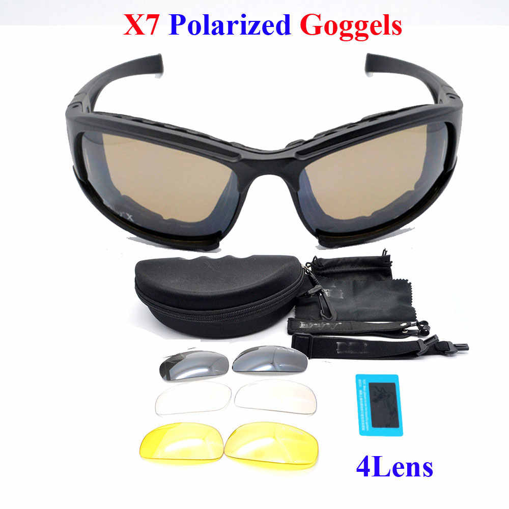 6848a3c6a9 Daisy X7 Military Goggles 4 Lens Army Sunglasses Tactical Glasses Eyeshield  For Wargame Airsoft Shooting Daisy