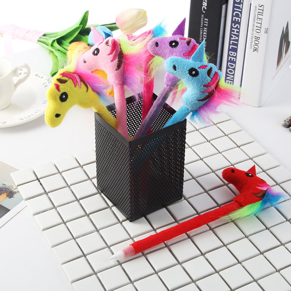 4Pcs/lot Cute 0.5mm Unicorn Plush Gel Pen Kawaii Colorful Plush Pen Fountain Signing Black Ink Color Pen Office School Pen