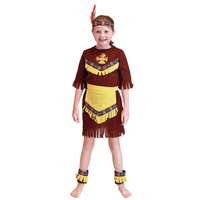 4 Pcs Child Girl Native American Indian Princess Dress Cosplay Costume Soldiers Warrior Fancy Dress Birthday