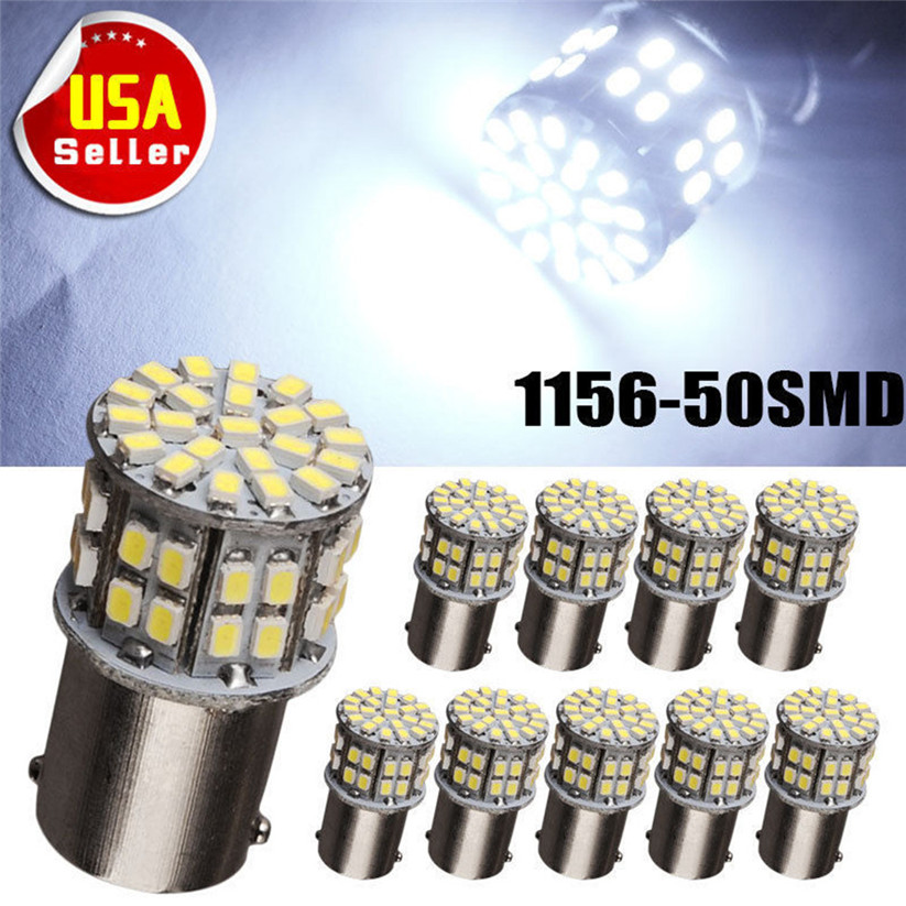 KAKUDER 10 pcs Super Bright BA15S 1156 P21W 50SMD Led Car Brake Light Turn Signals Rear dd726 dropship