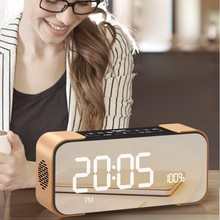 EXRIZU PTH-305 2200mAh Battery Portable LED Bluetooth Speaker Clock Subwoofer Boombox Audio Music for Outdoor Camping Hiking Bed