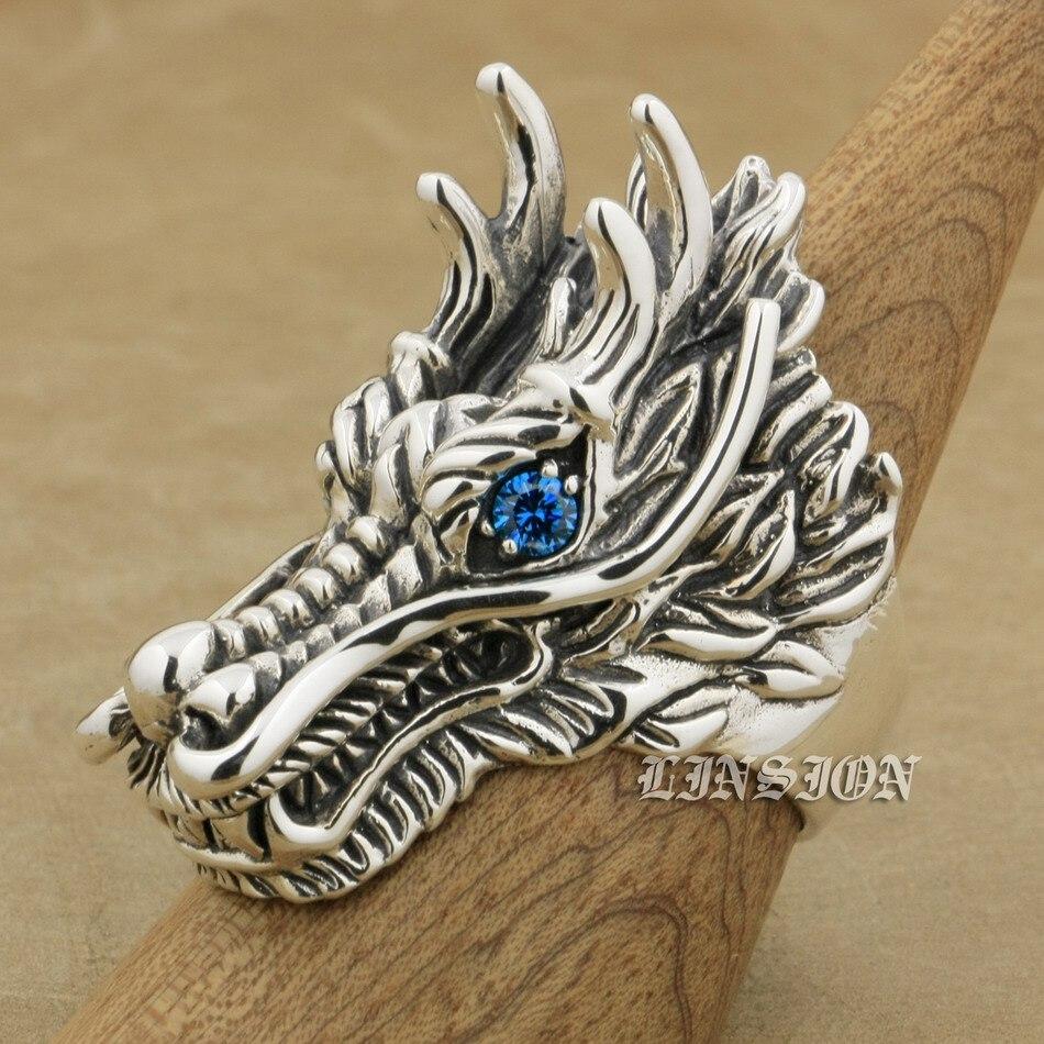 Здесь продается  US Size 7 to 15 Huge Heavy 925 Sterling Silver Dragon Blue CZ Eyes Mens Biker Rocker Punk RIng 9D110  Ювелирные изделия и часы