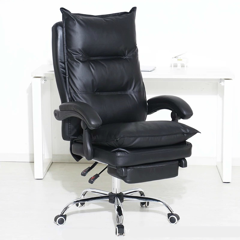 Thicken Double Layer Computer Chair PU Soft Reclining Swivel Chair Lifted Multifunction Office Chair With Footrest Boss Chair