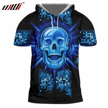 UJWI New Funny Blue Glitter Hoodies Tee Shirt 3D Printed Man Hip Hop DJ  Skulls Best Selling Mens Hooded Tshirt Wholesale 3a6004f7ee92