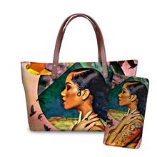 NOISYDESIGNS Women Handbags Black Art Afro Lady Girls Printed 2pcs/set Hand Bag Females Travel Beach Totes Teenagers Book