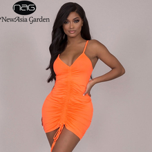 NewAsia Orange Ruched Drawstring Sexy Dress Women 2019 Summer V-neck Sleeveless Bodycon Mini Party Beach Casual Neon