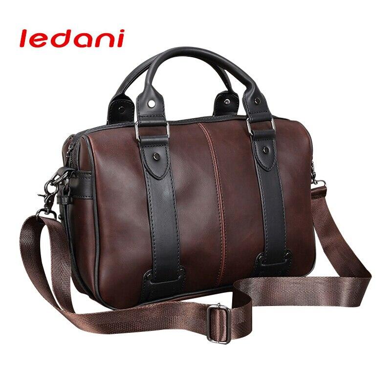 LEDANI Brand Male Bag PU Leather Briefcase Men Business Handbag Travel Messenger Bags Boys Vintage Shoulder Bag Large Capacity