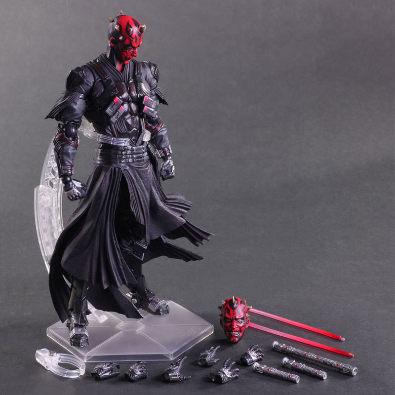 Star War Play Arts Darth Maul PA Darth Vader Black Knight Imperial Stormtrooper 26cm PVC Action Figure Doll Toys Kids Gift L1090 saintgi star wars darth maul play arts original darth vader espada bb8 figures toys revoltech pvc collectible model 26cm