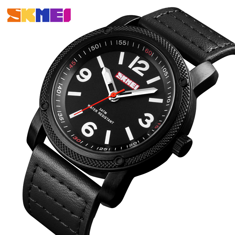 SKMEI Fashion Sport Men Watch Man Quartz Clock Leather Strap Top brand Luxury Waterproof Watches Relogio Masculino 1417