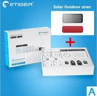Популярный бренд сигнализации Etiger S4 безопасности GSM сигнализация Системы главную Смарт сигнализации Системы с Солнечные вспышки flash сирены