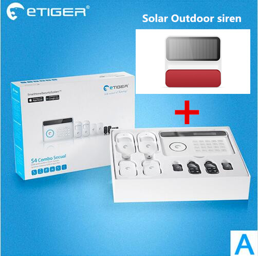 Popular brand Alarm Etiger S4 GSM Alarm Security System Home Smart Alarm System With Solar Strobe flash Siren Alarm big discount etiger pstn gsm alarm system home smart alarm s4 security alarm system with ten language menu