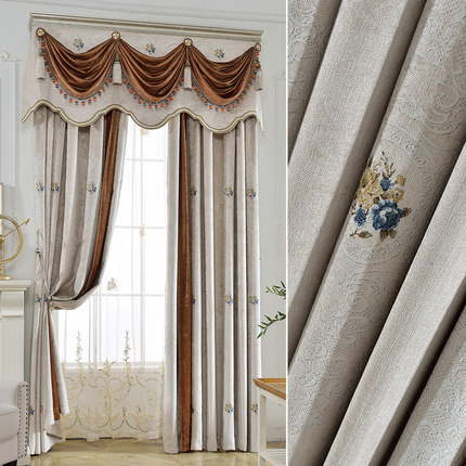 Nuevo estilo europeo cortina de empalme de tela cortina ventana de - Textiles para el hogar
