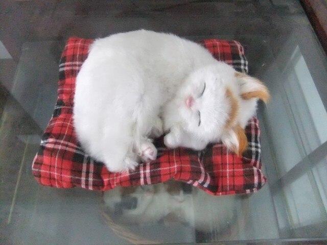 simulation sleeping cat about 17x20cm Handmade craft model toy,polyethylene&furs sounds miaow cat,decoration toy Xmas gift w4115