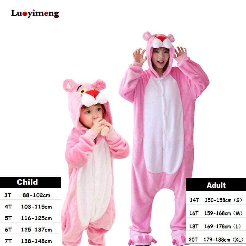 цена Kids Sleepers Pink Panther Kigurumi Pajama Onesie Girls Boys Women Winter Animal Sleepwear pijama de unicornio Cosplay Jumpsuit